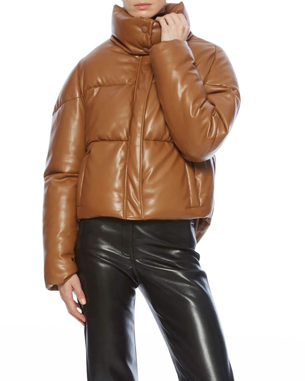 Jemma Vegan Leather Short Puffer Jacket