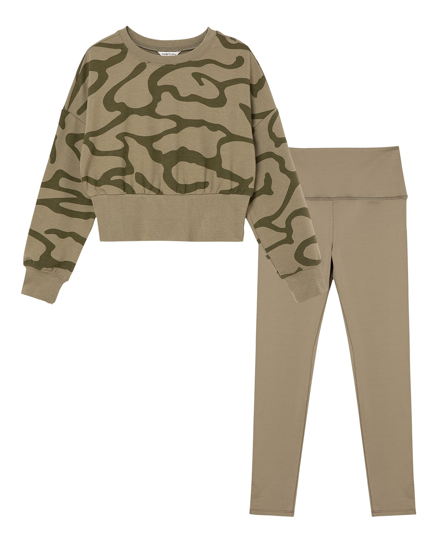 Girl's Olive 2-Piece Camo Sweater Set