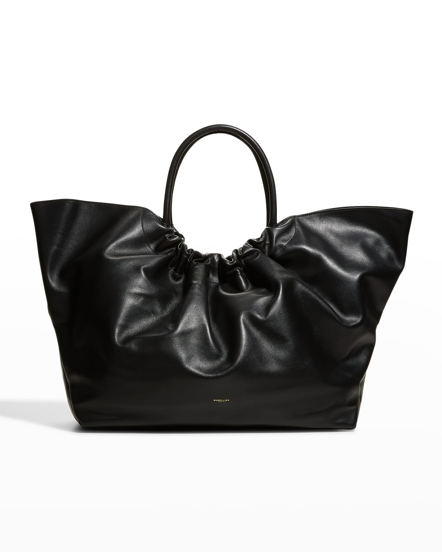 Maxi LA Ruched Leather Top-Handle Bag