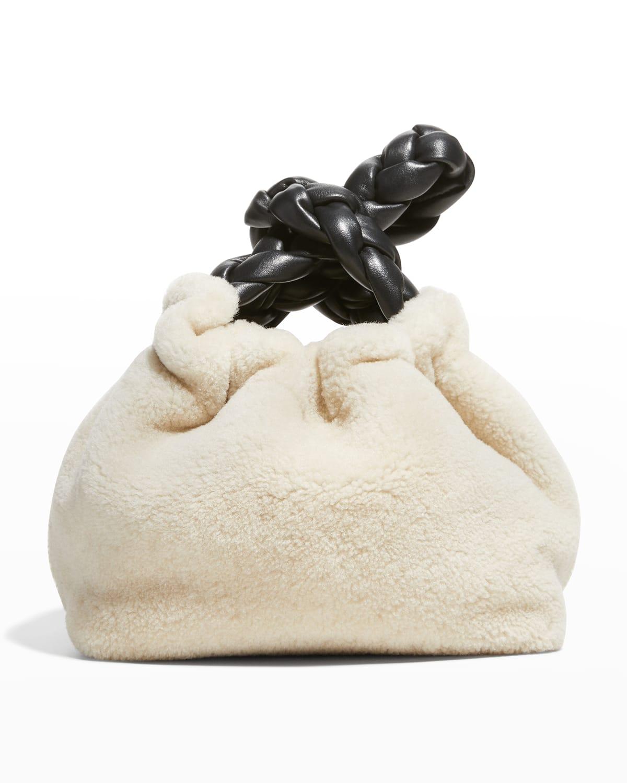 Santa Monica Braided Shearling Top-Handle Bag