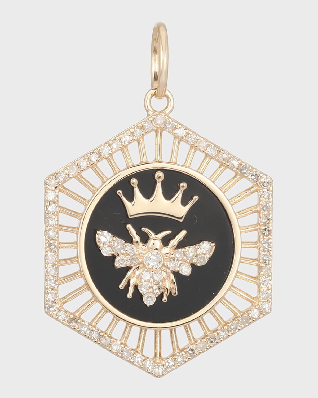 Queen Bee Diamond and Onyx Pendant