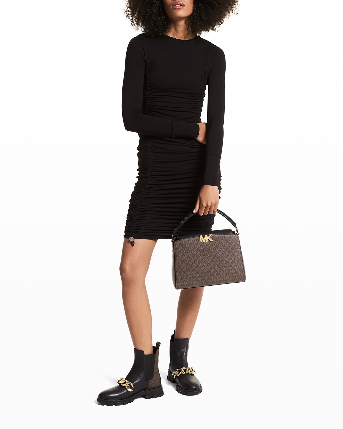 Ruched Long-Sleeve Bodycon Dress