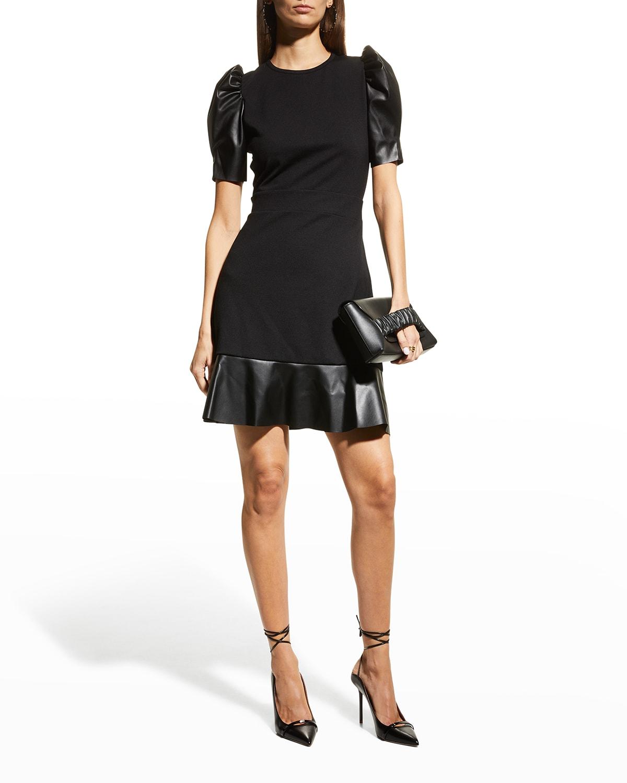 Ponte Faux Leather Mix Dress