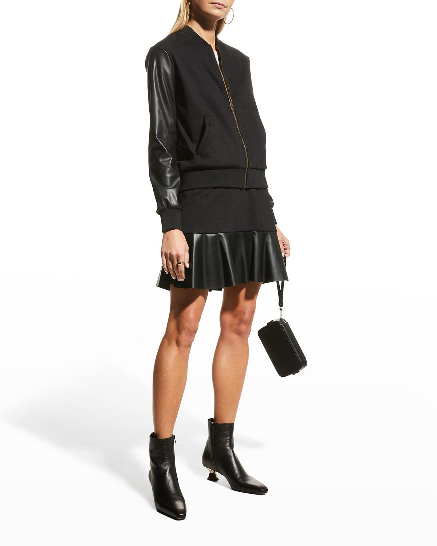 Faux Leather Sleeve Ponte Bomber Jacket