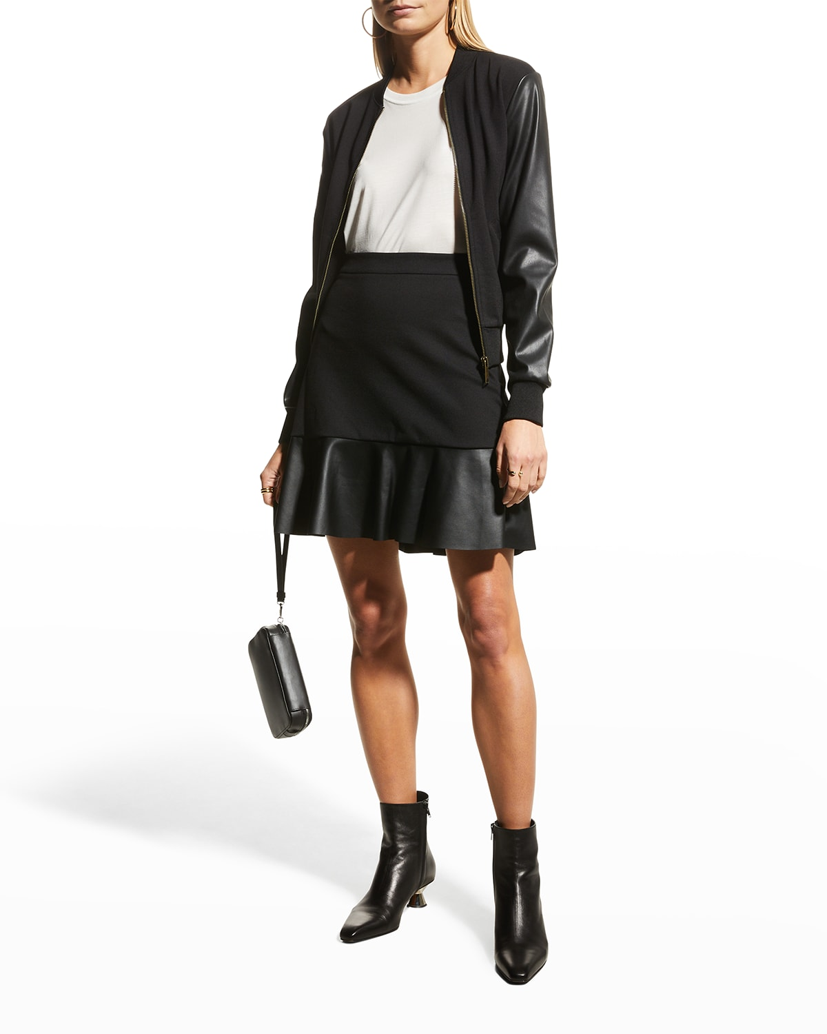 Ponte Faux Leather Mix Skirt