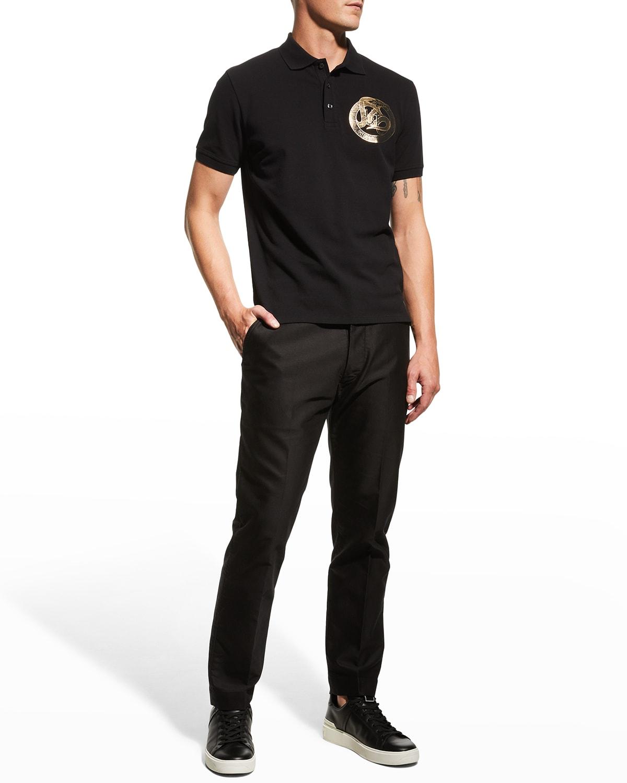 Men's Metallic-Logo Polo Shirt