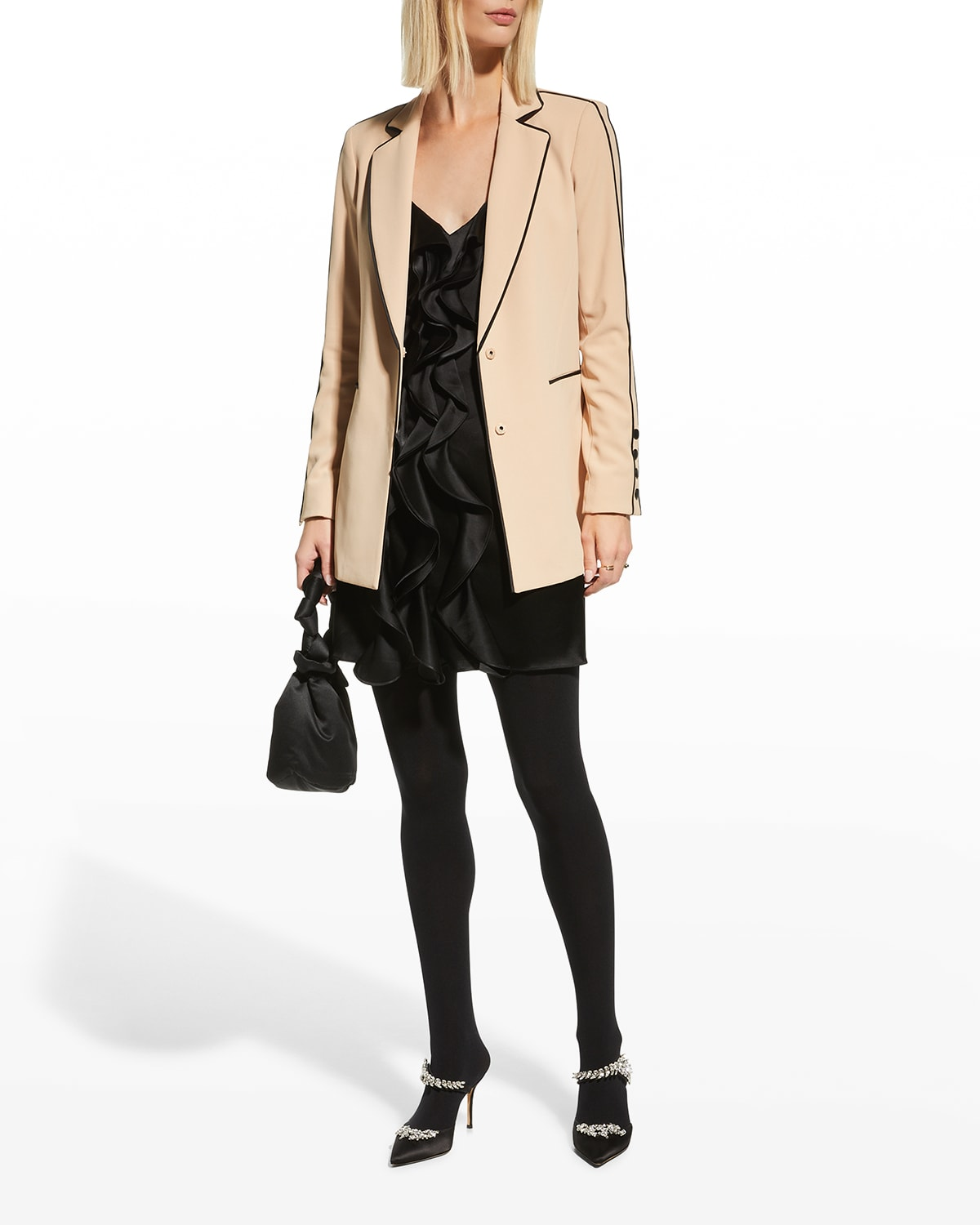 Valeria Fitted Long Blazer w/ Piping