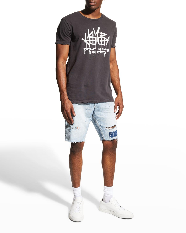 Men's Wolf Kolor Stitch Denim Shorts