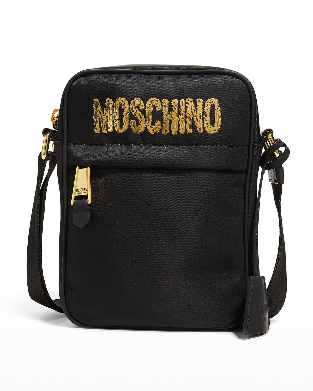 Men's Textured-Logo Crossbody Bag