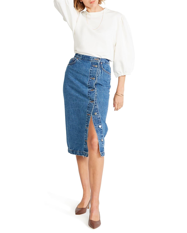 Kyla Side-Slit Denim Skirt