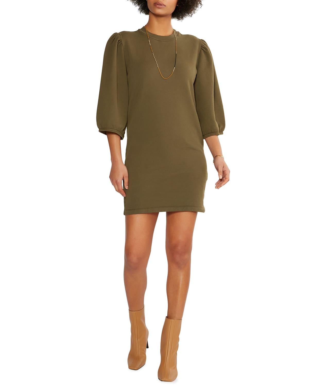 Etica Isabelle Puff-sleeve Dress In Sea Turtle