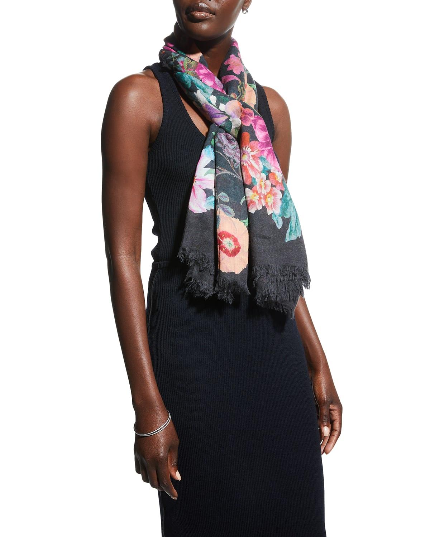 Raji Floral-Print Modal-Wool Scarf