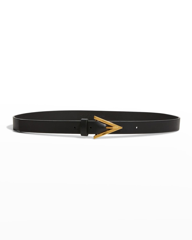 Triangle Leather Skinny Belt