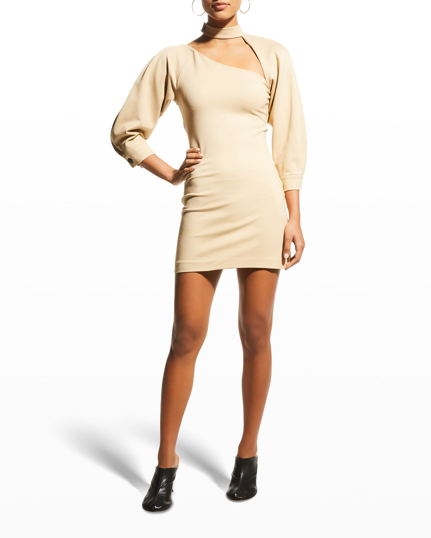 Brandie Puff-Sleeve Bodycon Dress