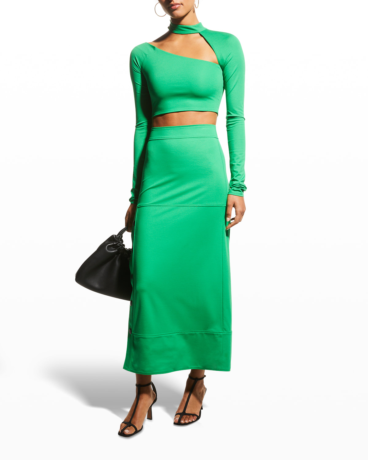 Neicy Long Fitted Skirt with Buttons