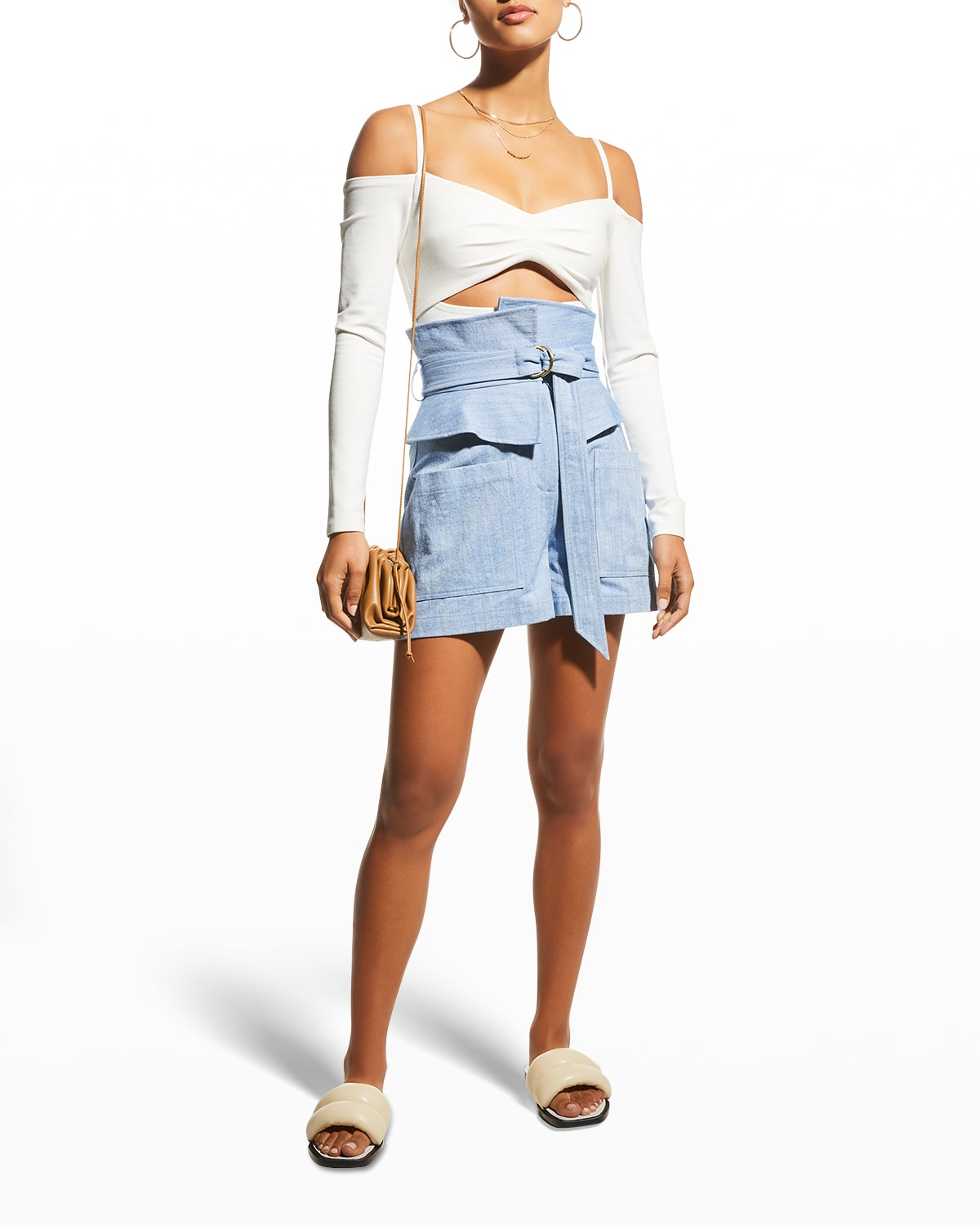 Thatcher High-Rise Belted Shorts