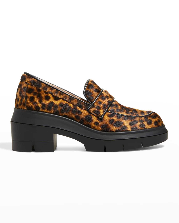 Aiden Leopard-Print Fur Loafers