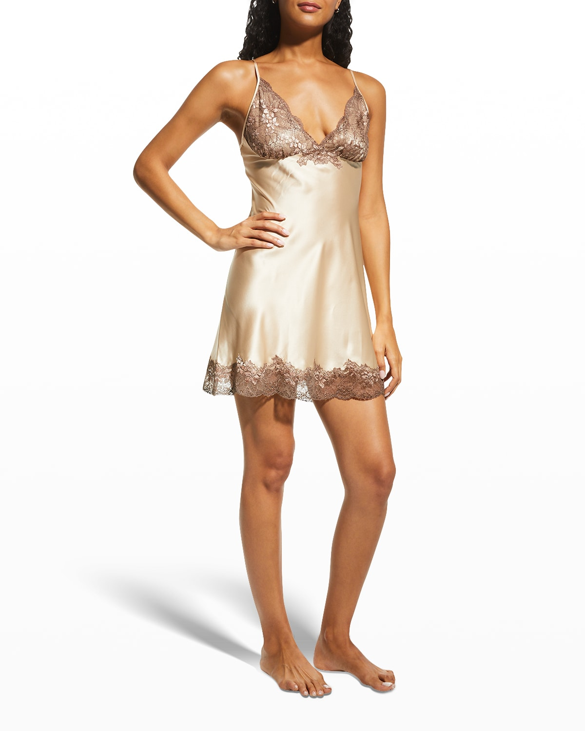 Satin Chemise with Leavers Lace