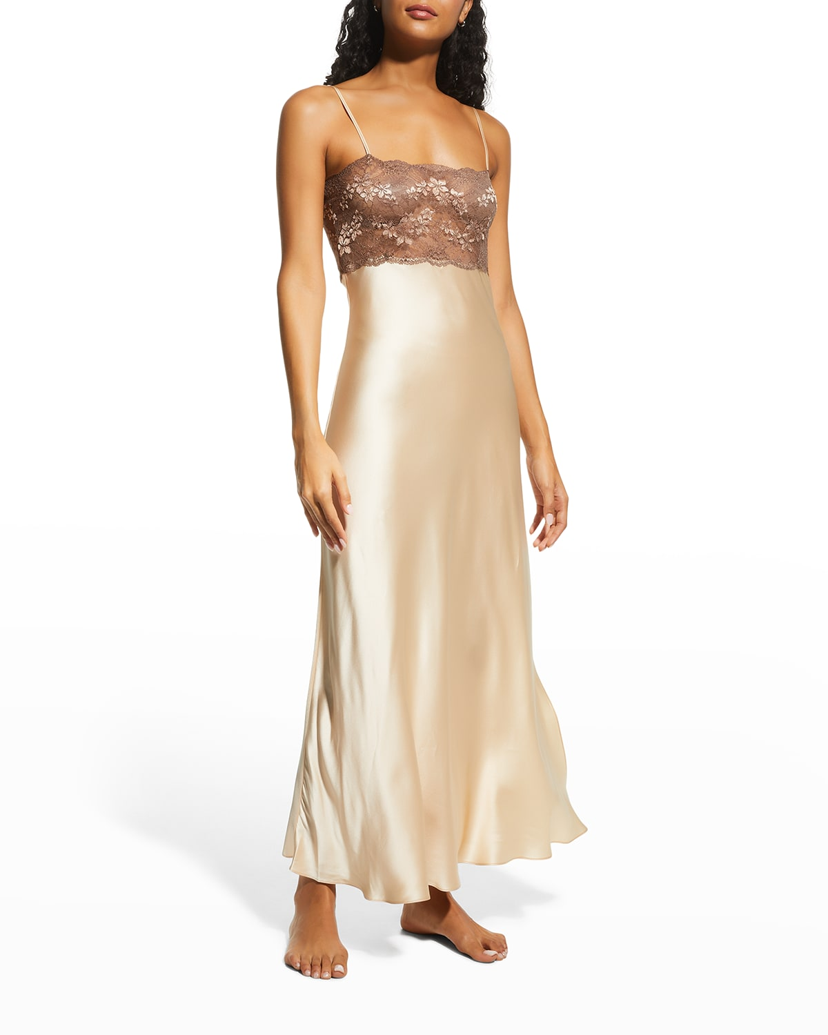 Lace-Trim Long Satin Nightgown