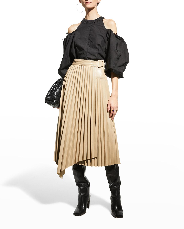 Alexis Vegan Leather Pleated Wrap Skirt