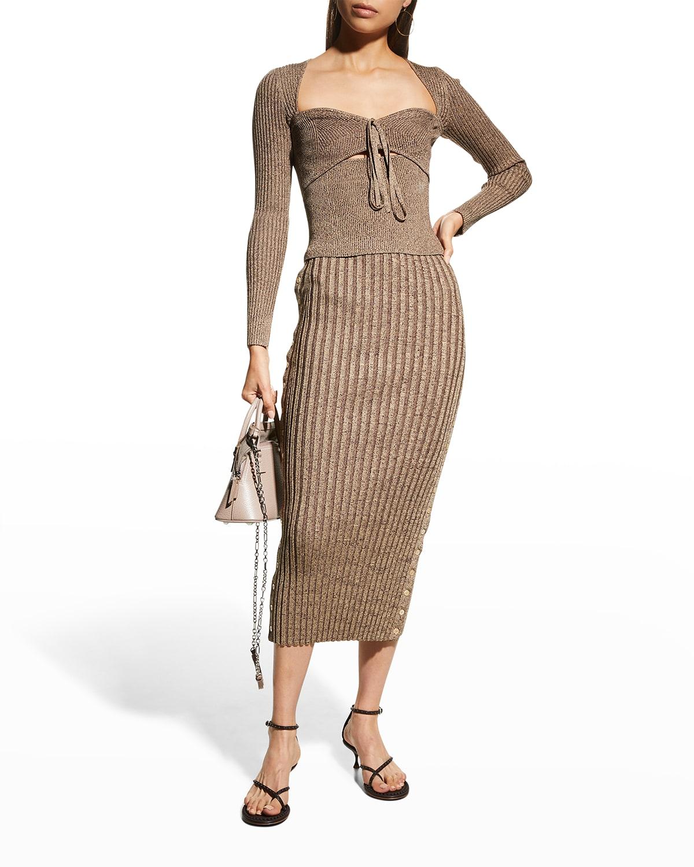 Ashton Compact Rib Midi Skirt w/ Plackets