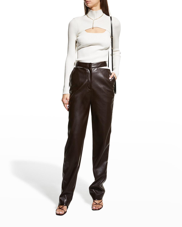 Amelia Vegan Leather Straight-Leg Pants