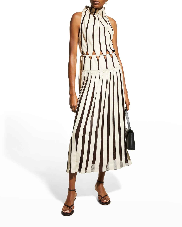 Yasmin Vegan-Leather Halter Pleated Midi Dress