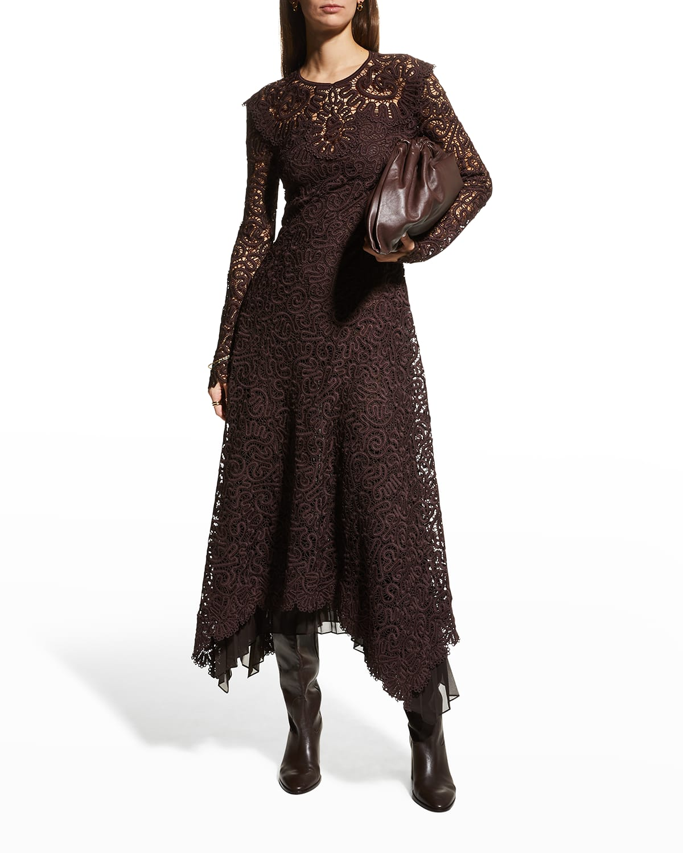 Corrie Guipure Lace Midi Handkerchief Dress