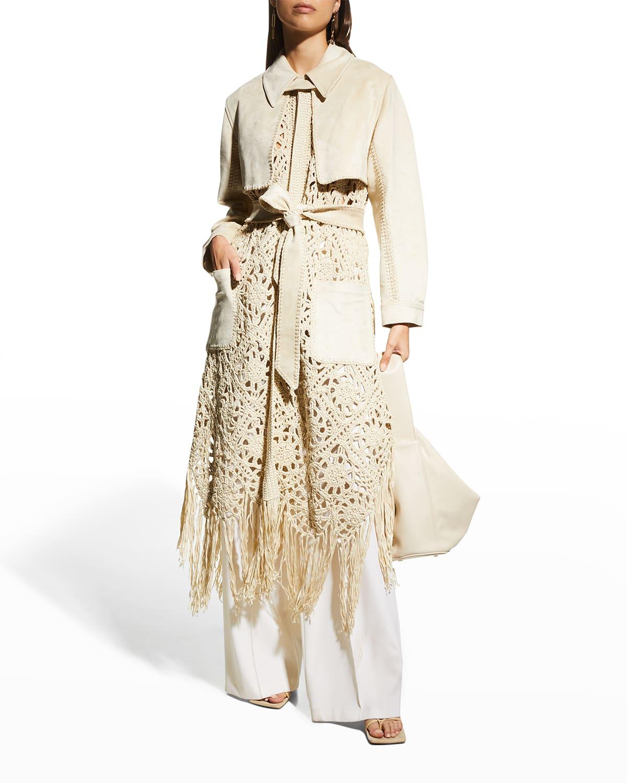 Yani Combo Crochet & Suede Trench Coat