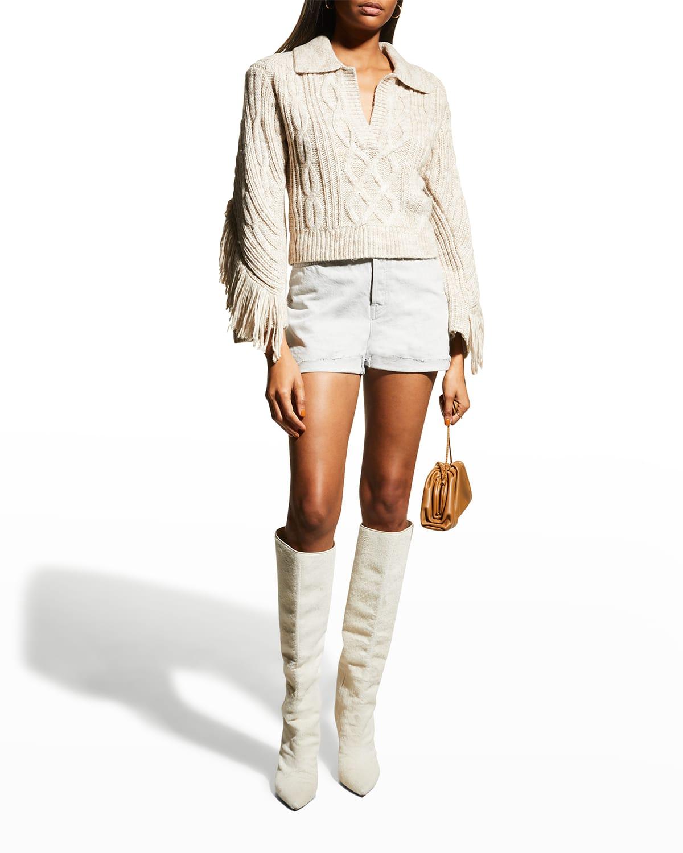 Kara Mouline Cable Polo Sweater w/ Fringe