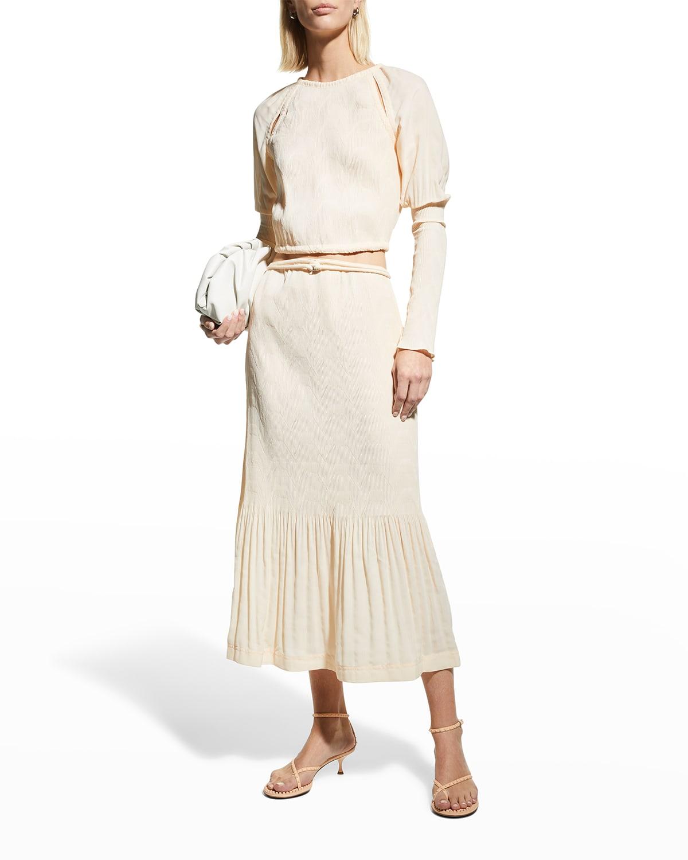 Mia Crepe Plisse Tie-Waist Skirt