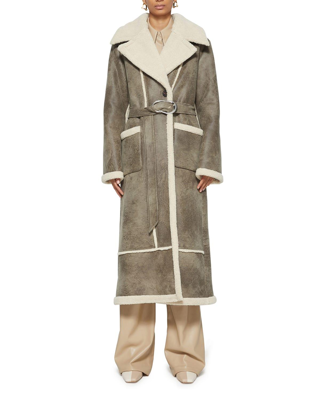 Briar Faux-Leather Longline Coat