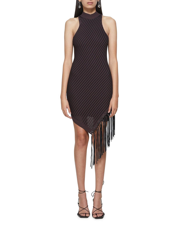 Chelle Short Pointelle Dress with Fringe