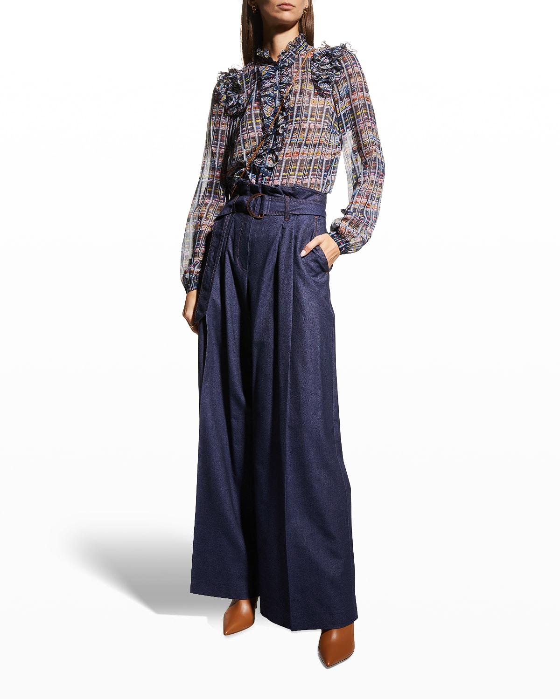 Tweed-Print Ruffle Chiffon Shirt