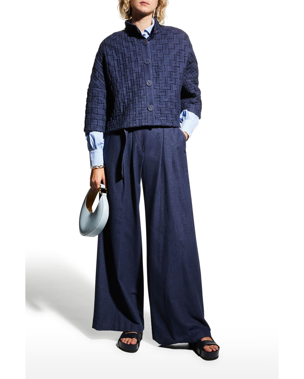 Basket-Weave Cropped Denim Jacket