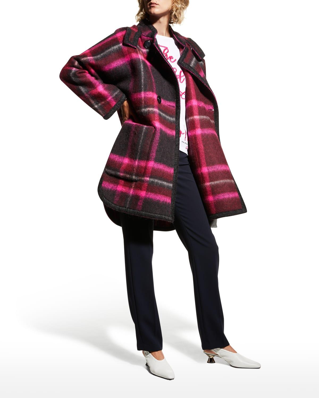 Buffalo Plaid Hooded Wool Coat