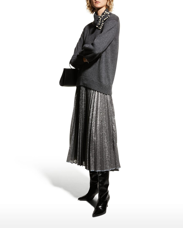 Pleated Micro-Sequin Midi Skirt