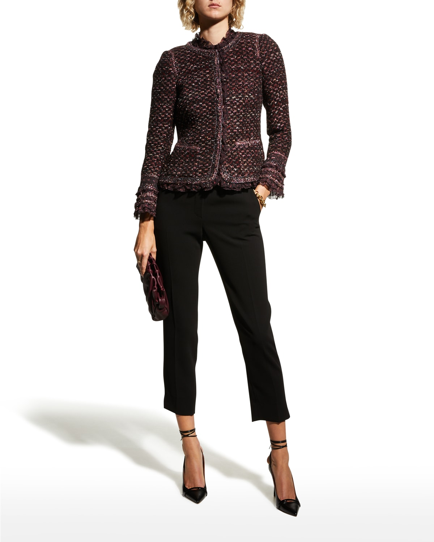 Metallic Tweed Jacket w/ Ruffle Trim