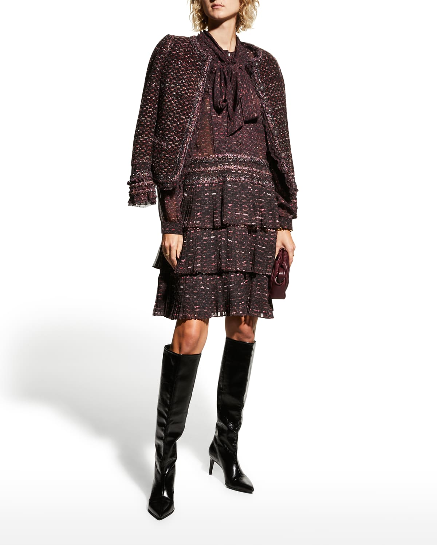 Neck-Tie Ruffle Chiffon Dress