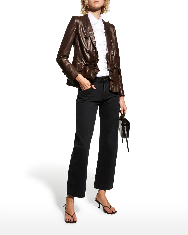 Double-Breasted Ruffle Leather Jacket