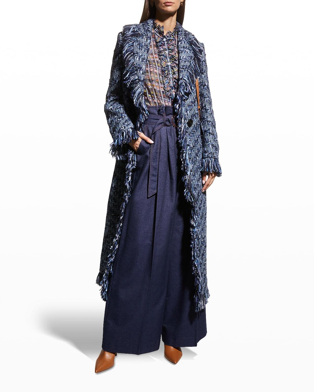 Long Tweed Coat with Fringe