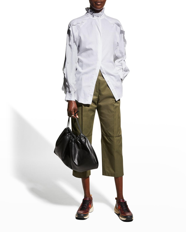 Quinn Ruffle-Collar Lawn Shirt