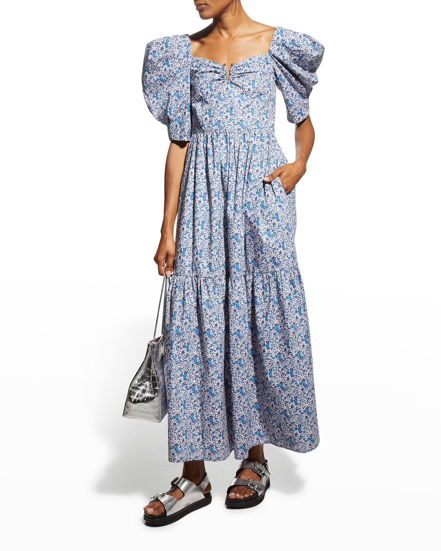 Elsa Floral-Print Puff-Sleeve Long Dress