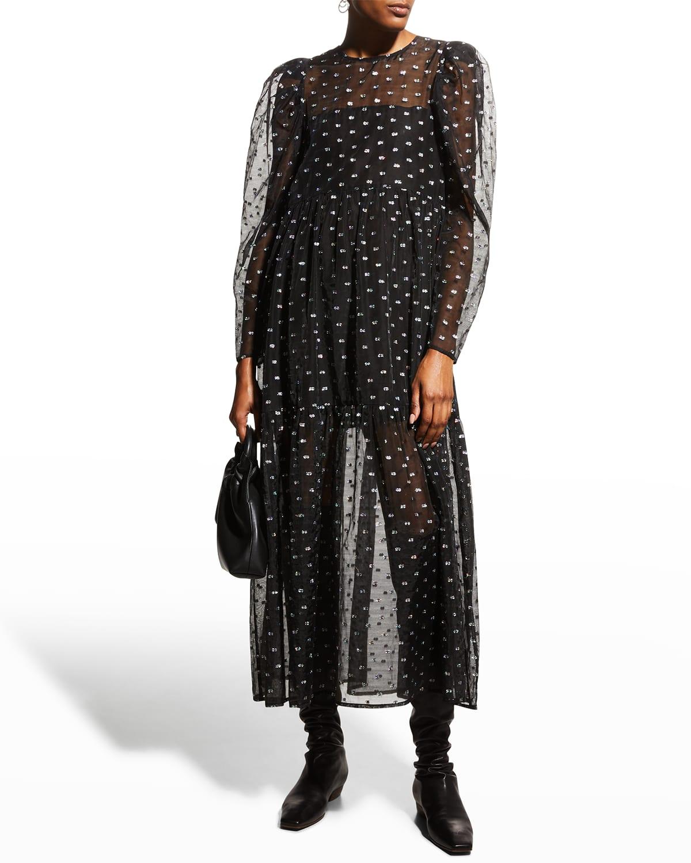 Courtney Metallic Tulle Long-Sleeve Maxi Dress
