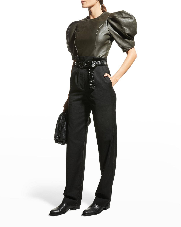 Mara Leather Puff-Sleeve Top