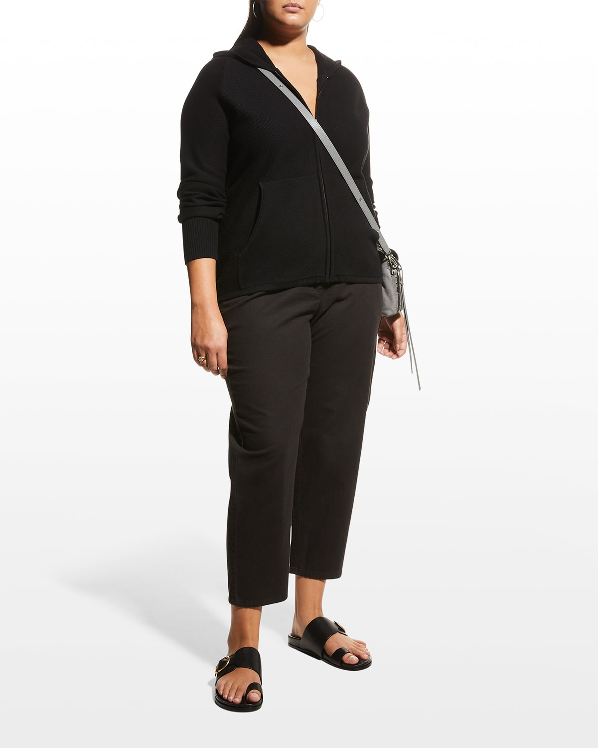 Plus Size Ison Seed-Stitch Zip Hoodie