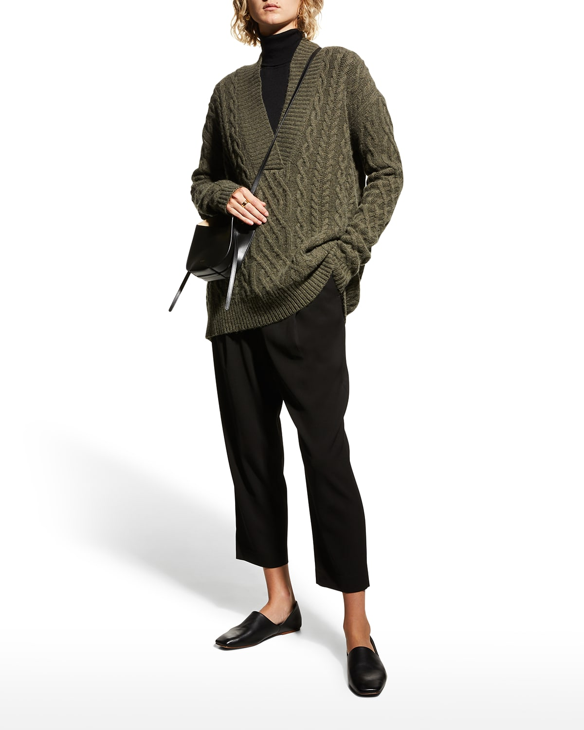 Cable Knit Wool-Cashmere Sweater