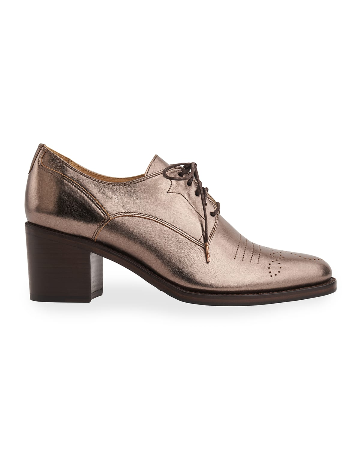 Miss Button Metallic Heeled Loafers