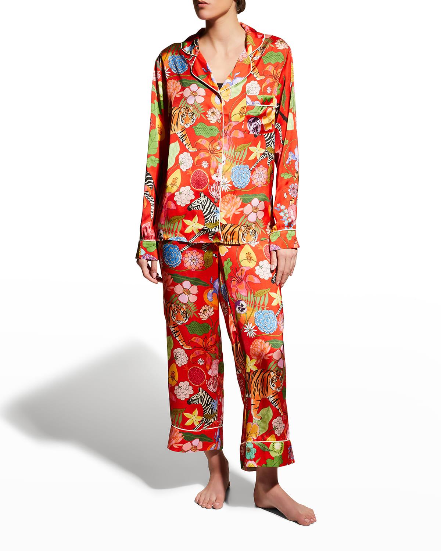 Tiger Bouquet Satin Pajama Set
