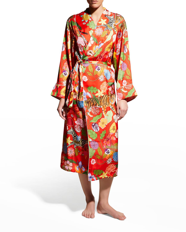 Tiger Bouquet Printed Satin Robe